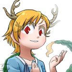 >:) avatar_icon blonde_hair blue_shirt chamaji commentary_request dragon_girl dragon_horns dragon_tail eyebrows_visible_through_hair horns kicchou_yachie lowres red_eyes shirt short_hair simple_background smile tail touhou turtle_shell white_background