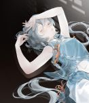 1girl algae_extract arms_up bangs blue_dress bow breasts closed_mouth collar colored_eyelashes commentary dress eyebrows_visible_through_hair from_above grey_eyes grey_hair hair_between_eyes hair_ornament highres lips long_hair looking_at_viewer luo_tianyi lying messy_hair on_back one_eye_closed orange_bow simple_background sleeveless sleeveless_dress solo upper_body very_long_hair vocaloid vsinger