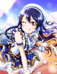 1girl :q arrow_(projectile) bangs bare_shoulders blue_hair blush bow_(weapon) braid fuyuu310 gloves hair_between_eyes hair_ornament hairclip hat heart heart_arrow highres holding holding_arrow holding_bow_(weapon) holding_weapon long_hair looking_at_viewer love_live! love_live!_school_idol_project microphone necktie one_eye_closed skirt smile solo sonoda_umi striped striped_neckwear tongue tongue_out weapon white_gloves yellow_eyes