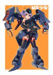 1girl absurdres ag_00000 byalant ear_piercing gun gundam highres holding holding_gun holding_weapon looking_at_viewer looking_down mecha_musume mechanical_wings piercing purple_hair solo thigh-highs thrusters twintails weapon wings yellow_eyes zeta_gundam