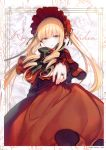 1girl absurdres black_neckwear blonde_hair blue_eyes bow bowtie capelet copyright_name cursive dress drill_hair headdress highres jewelry long_dress long_hair looking_at_viewer outstretched_arm parted_lips red_dress ring rozen_maiden scan shinku solo toosaka_asagi twin_drills twintails