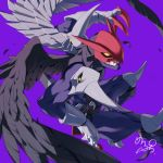 1boy belt black_belt black_wings bodysuit claws closed_mouth cowboy_shot digimon falling_feathers fang fang_out feathered_wings floating gauntlets helmet highres holding holding_sword holding_weapon knee_spikes male_focus maplo mask mismatched_wings purple_background purple_bodysuit ravmon sheath sheathed shoulder_spikes signature simple_background solo spikes sword tabi weapon weapon_on_back wings yellow_eyes