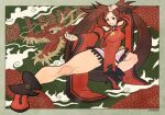 1girl arm_up bangs bare_legs bare_shoulders breasts brown_eyes brown_hair china_dress chinese_clothes chinese_text clouds detached_sleeves dragon dress fighting_stance green_background guilty_gear guilty_gear_xrd hair_ornament hairclip highres kuradoberi_jam long_hair medium_breasts oko_(ocotaros) smile thick_thighs thighs wide_sleeves