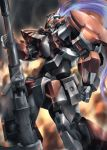 arx-8_laevatein clenched_hand explosion from_side full_metal_panic! green_eyes gun highres jellyman joints looking_down mecha no_humans rifle robot_joints sniper_rifle solo weapon white_hair
