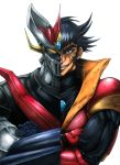 1boy absurdres biceps black_eyes black_hair crossed_arms great_mazinger_(robot) highres line_shading mecha shin_mazinger_shougeki!_z-hen smirk split_image super_robot tsurugi_tetsuya white_background wrato