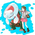 backpack bag blue_background brown_eyes brown_footwear brown_hair can_(pixiv33249519) claws commentary_request creature dracovish flat_chest full_body gen_8_pokemon grin highres looking_at_viewer pokemon pokemon_(creature) pokemon_(game) pokemon_swsh shoelaces short_hair smile standing thumbs_up yuuri_(pokemon)