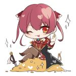 1girl ;p blush chibi coat crossed_legs eyebrows_visible_through_hair gold hair_between_eyes heart highres holding holding_coin hololive houshou_marine megmilk-uk one_eye_closed pleated_skirt red_eyes red_neckwear redhead sitting sketch skirt solo sword thigh-highs tongue tongue_out treasure twintails weapon