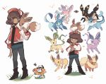 1other baseball_cap boots charamells closed_eyes commentary creature crossover dark_skin eevee english_commentary espeon flareon flowey frisk gen_1_pokemon gen_2_pokemon gen_4_pokemon gen_6_pokemon glaceon grass hat heart jolteon leafeon looking_at_viewer on_head pants pokemon pokemon_(creature) pokemon_on_head pose simple_background standing sylveon umbreon vaporeon white_background