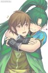 1boy 1girl artist_name bangs blush brown_eyes brown_hair cape closed_mouth earrings fingernails fire_emblem fire_emblem:_the_blazing_blade fire_emblem_heroes gloves green_cape green_hair grin hug hug_from_behind jewelry lips lyn_(fire_emblem) marfrey mark_(fire_emblem:_the_blazing_blade) open_mouth parted_lips ponytail short_sleeves simple_background smile teeth tied_hair twitter_username upper_body