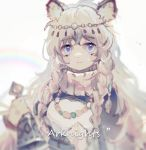 1girl animal_ear_fluff animal_ears arknights bell blue_eyes braid closed_mouth coat expressionless eyebrows_visible_through_hair holding jewelry leopard_ears long_hair looking_at_viewer necklace pramanix_(arknights) rainbow sidelocks silver_hair solo yizhi_yishi