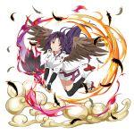 eyeball feather_fan flying highres open_mouth purple_hair sword_art_online sword_art_online:_memory_defrag transparent_background wings yuuki_(sao)