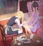 2girls apron bangs bare_arms bare_shoulders bed black_dress black_hair blonde_hair blue_eyes blue_nails blue_scrunchie chair closed_mouth collarbone commentary_request dress eyebrows_visible_through_hair frilled_dress frilled_pillow frills funyariko hair_down hair_ornament hair_scrunchie hayasaka_ai holding_hand indoors kaguya-sama_wa_kokurasetai_~tensai-tachi_no_renai_zunousen~ leaning_forward long_hair long_sleeves looking_at_another multiple_girls nail_polish on_bed painting_nails pillow profile purple_dress purple_footwear red_eyes scrunchie shinomiya_kaguya shirt side_ponytail sidelocks sitting sitting_on_bed sleeveless sleeveless_dress table waist_apron white_apron white_shirt window