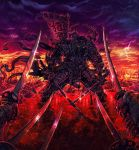 armor arrow_(projectile) arrow_in_body blood blood_splatter bloody_clothes bodies broken_armor clouds cloudy_sky commentary death dual_wielding flag helm helmet highres holding holding_sword holding_weapon katana looking_at_viewer mask mouth_mask partially_submerged pointing_sword pointing_weapon rain samurai shadman sky standing sword thunder torn_clothes torn_flag war weapon