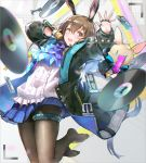 1girl :d absurdres amiya_(arknights) animal_ears arknights arm_up ascot bangs black_jacket blue_eyes blue_neckwear blue_skirt blurry blurry_foreground blush brown_hair brown_legwear cassette_tape center_frills chess_piece commentary copyright_name depth_of_field evers eyebrows_visible_through_hair frilled_shirt frills hair_between_eyes hand_up highres holding holding_microphone jacket long_hair long_sleeves microphone no_shoes open_clothes open_jacket open_mouth pantyhose pleated_skirt puffy_long_sleeves puffy_sleeves rabbit_ears record rook_(chess) shirt skirt smile solo stuffed_animal stuffed_bunny stuffed_toy very_long_hair viewfinder white_shirt