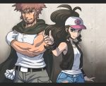 1boy 1girl baseball_cap beard belt black_belt black_wristband blue_eyes breasts brown_eyes brown_hair commentary_request cowboy_shot denim denim_shorts eyelashes facial_hair gloves hat kurii_chasuke long_hair looking_at_viewer muscle pokemon pokemon_(game) pokemon_bw pokemon_dppt ponytail shorts small_breasts smirk tougan_(pokemon) touko_(pokemon) vest white_gloves white_headwear wristband