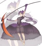 1girl absurdres arm_up barefoot black_dress blue_eyes blush dress elbow_gloves eyebrows_visible_through_hair frills garter_straps gloves highres holding holding_scythe holding_weapon kiritzuguart long_hair navel original parted_lips ponytail purple_gloves purple_hair scythe see-through see-through_dress smile solo weapon