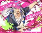 1boy alternate_costume aonagi_(a-lot-of) artorius_collbrande baseball_cap black_jacket blue_eyes collarbone floating_hair hat hat_over_one_eye holding jacket long_hair male_focus open_mouth outstretched_arm pink_headwear print_headwear print_shirt shirt silver_hair sleeves_rolled_up solo tales_of_(series) tales_of_berseria upper_body white_shirt