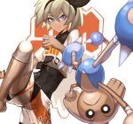 1girl barefoot black_bodysuit blue_eyes bodysuit bodysuit_under_clothes breasts closed_mouth commentary cowboy_shot dark_skin eyelashes gen_2_pokemon hair_between_eyes hairband highres hitmontop knee_pads knee_up looking_at_viewer pokemon pokemon_(game) pokemon_swsh saitou_(pokemon) shirt short_hair short_shorts short_sleeves shorts silver_hair simple_background small_breasts sweatband tied_shirt upside-down white_background white_shirt white_shorts wristband ziu