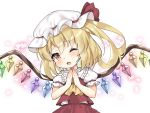 1girl ascot bare_arms blonde_hair blush chibi child collared_shirt commentary_request crystal eyebrows_visible_through_hair fang flandre_scarlet frilled_shirt_collar frills hands_up hat headwear heart highres juugou_taki looking_at_viewer mob_cap one_eye_closed open_mouth puffy_short_sleeves puffy_sleeves red_eyes red_shirt red_skirt shirt short_hair short_sleeves side_ponytail simple_background skirt solo symbol_commentary touhou upper_body white_background wings
