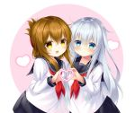 2girls :d bangs black_sailor_collar black_skirt blue_eyes blush brown_eyes brown_hair closed_mouth commentary_request eyebrows_visible_through_hair hair_between_eyes hand_up heart heart_hands heart_hands_duo hibiki_(kantai_collection) highres inazuma_(kantai_collection) kantai_collection long_hair long_sleeves looking_at_viewer multiple_girls neckerchief no_hat no_headwear open_mouth pink_background pleated_skirt red_neckwear sailor_collar school_uniform serafuku shirt sidelocks silver_hair skirt smile two-tone_background very_long_hair white_background white_shirt yellow_eyes yuto_sepiacolor