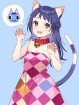 1girl animal_ear_fluff animal_ears argyle_dress bare_shoulders bell bell_collar black_eyes blue_background blue_hair blush bouquet_(doubutsu_no_mori) braid cat cat_ears cat_tail claw_pose collar cowboy_shot doubutsu_no_mori dress highres issindotai long_hair looking_at_viewer open_mouth personification red_collar simple_background smile solo strapless strapless_dress tail