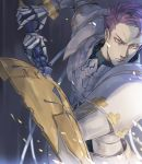 1boy armor cape close-up fate/grand_order fate_(series) fighting_stance gauntlets glitter holding holding_sword holding_weapon knight knights_of_the_round_table_(fate) lancelot_(fate/grand_order) looking_at_viewer male_focus purple_hair sword upper_body violet_eyes weapon yevnean