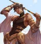 1boy ahoge arm_armor bangs black_hair cape clear_sky covered_abs covered_navel dark_skin dark_skinned_male earrings egyptian_clothes fate/grand_order fate_(series) glitter jewelry looking_at_viewer male_focus ozymandias_(fate) smile sunlight tight white_cape yellow_eyes yevnean