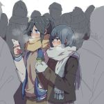 2girls bangs black_hair blue_eyes blue_hair blush breath cellphone coat cold commentary_request cup eyebrows_visible_through_hair from_side grey_coat grey_mittens grey_scarf hair_between_eyes hibike!_euphonium holding holding_cup holding_phone jacket kasaki_nozomi liz_to_aoi_tori long_hair long_sleeves looking_to_the_side mittens multiple_girls phone ponytail ree_(re-19) scarf walking white_sleeves winter winter_clothes yellow_scarf yoroizuka_mizore