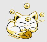 :3 beta_pokemon cat cat_focus closed_mouth commentary creature english_commentary facing_viewer full_body happy koonya_(baby_meowth) lying mike_luckas monochrome no_humans on_stomach pokemon pokemon_(creature) pokemon_(game) pokemon_gsc pokemon_gsc_beta prototype signature simple_background solo white_background yellow_theme
