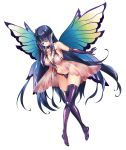 1girl black_hair butterfly_wings clea collarbone elbow_gloves gloves hair_over_one_eye long_bangs original simple_background solo white_background wings yellow_eyes zol