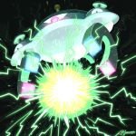 black_background commentary creature electricity english_commentary full_body gen_4_pokemon gooompy highres looking_at_viewer magnezone no_humans pokemon pokemon_(creature) signature simple_background solo