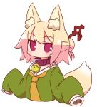 1girl animal_ear_fluff animal_ears bangs bell bell_collar blonde_hair blush brown_collar collar commentary_request cropped_torso eyebrows_visible_through_hair fox_ears fox_girl fox_tail green_shirt hair_bun hair_ornament hands_up jingle_bell kemomimi-chan_(naga_u) long_hair long_sleeves looking_at_viewer naga_u orange_neckwear original red_eyes shirt sidelocks simple_background sleeves_past_fingers sleeves_past_wrists solo tail tail_raised upper_body white_background