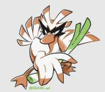 beta_pokemon bird bird_focus claws commentary creature english_commentary full_body holding_spring_onion legs_apart looking_at_viewer madame_(evolved_farfetch'd) mike_luckas no_humans pokemon pokemon_(creature) prototype signature simple_background solo standing white_background