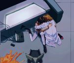 2girls a12740807 akagi_ritsuko blonde_hair brown_hair chair clutching_shoulder computer desk end_of_evangelion floor gun hidden_face highres hug ibuki_maya indoors laptop lcl multiple_girls neon_genesis_evangelion shell_casing sitting weapon