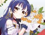 1girl bangs blue_hair blush bouquet commentary_request detached_sleeves flower hair_between_eyes hair_flower hair_ornament holding holding_bouquet long_hair looking_at_viewer love_live! love_live!_school_idol_project simple_background smile solo sonoda_umi totoki86 white_flower yellow_eyes