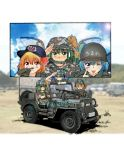 3girls camouflage cirno clouds cloudy_sky daiyousei gloves ground_vehicle gun hat helmet japan_ground_self-defense_force japan_self-defense_force jeep military military_uniform military_vehicle motor_vehicle multiple_girls nakamura_3sou rumia salute shovel sky smile sun touhou uniform weapon