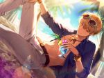 1boy bangs beach belt belt_buckle bikkusama black_belt blonde_hair blue-framed_eyewear blue_shirt blurry blurry_background bracelet buckle closed_mouth collarbone collared_shirt curtains day dress_shirt dutch_angle earrings eyewear_on_head fate/grand_order fate_(series) gilgamesh gilgamesh_(caster)_(fate) hair_between_eyes hand_on_own_knee highres holding jewelry lens_flare male_focus necklace ocean open_clothes open_shirt outdoors palm_tree pants petals red_eyes shiny shiny_hair shirt smile solo sunglasses tree unbuttoned unbuttoned_shirt white_pants wing_collar