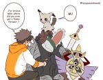 1boy 1panel aegislash alternate_color axe black_gloves black_hair brown_hair commentary creature english_commentary fingerless_gloves gen_6_pokemon gen_7_pokemon gloves male_focus male_protagonist_(pokemon_go) mimikyu pokemon pokemon_(creature) pokemon_(game) pokemon_go rainyazurehoodie shiny_pokemon simple_background spiky_hair sword weapon white_background