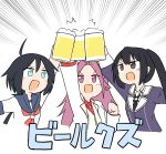 3girls absurdres ahoge alcohol bangs beer beer_mug black_hair blue_eyes brown_eyes cheno_(amakuchi_mustard) cup eyebrows_visible_through_hair fang highres holding jun'you_(kantai_collection) kako_(kantai_collection) kantai_collection long_hair mug multiple_girls nachi_(kantai_collection) ponytail purple_hair red_neckwear sailor_collar school_uniform serafuku side_ponytail simple_background spiky_hair translation_request violet_eyes