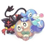 biorobo bird cat commentary creature english_commentary full_body gen_7_pokemon head_tilt litten looking_at_viewer no_humans pokemon pokemon_(creature) popplio red_eyes rowlet seal signature simple_background solo violet_eyes white_background yellow_sclera