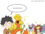 1boy 9koma bird black_hair brown_shirt commentary english_commentary english_text entei gen_2_pokemon ho-oh legendary_pokemon male_focus original pokemon pokemon_(game) pokemon_gsc pokemon_gsc_beta raikou rainyazurehoodie shirt short_sleeves simple_background spiky_hair suicune white_background
