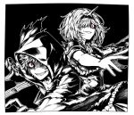 1boy 1girl alter_ego_conjurer_(granblue_fantasy) black_background crazy_eyes crazy_smile djeeta_(granblue_fantasy) gran_(granblue_fantasy) granblue_fantasy grin hair_over_one_eye hairband hood hood_up hoodie looking_at_viewer monochrome open_mouth parted_lips shaded_face sharp_teeth smile spiked_hairband spikes sword teeth weapon zanki