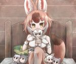 6+girls animal_ears bare_shoulders bed black_hair black_jaguar_(kemono_friends) blonde_hair breasts brown_hair commentary_request dhole_(kemono_friends) dog_ears dog_girl dog_tail doll grey_hair highres holding holding_doll indoors jaguar_girl kemono_friends kemono_friends_3 kotobukkii_(yt_lvlv) medium_breasts meerkat_(kemono_friends) meerkat_ears multicolored_hair multiple_girls solo southern_tamandua_(kemono_friends) tail white_hair yellow_eyes