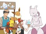 1girl 2boys :d ^_^ ayumi_(pokemon) baseball_cap black_hair brown_hair casteliacone closed_eyes commentary creature eevee english_commentary facing_another food gen_1_pokemon happy hat holding holding_food kakeru_(pokemon) legendary_pokemon long_hair looking_at_another mewtwo multiple_boys on_head open_mouth pokemon pokemon_(creature) pokemon_(game) pokemon_lgpe pokemon_on_head ponytail serious simple_background smile spiky_hair white_background