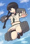 1girl adapted_turret bangs beige_sailor_collar beige_serafuku beige_skirt black_hair blue_sky blunt_bangs braid cannon clouds commentary_request full_body hair_over_shoulder highres jumping kantai_collection kitakami_(kantai_collection) long_hair looking_at_viewer midriff neckerchief panties pantyshot pleated_skirt remodel_(kantai_collection) sailor_collar school_uniform serafuku sidelocks simoyuki single_braid skirt sky solo sparkle torpedo_launcher turret underwear white_neckwear white_panties