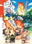 4girls alternate_costume animal_ears arknights barbecue bear_ears blonde_hair brown_hair cat_ears ceylon_(arknights) commentary corndog demon_horns english_text fire food grill grilling gummy_(arknights) horns ifrit_(arknights) kebab multiple_girls one_eye_closed originium_slug_(arknights) phandit_thirathon pink_hair pot propane_tank skyfire_(arknights) speech_bubble
