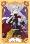 1girl absurdres ak-12_(girls_frontline) black_gloves black_pants breasts cape cloak fur_cape girls_frontline gloves hair_ornament hair_ribbon hand_on_weapon highres justice_(tarot_card) libra long_hair looking_at_viewer military military_uniform one_eye_closed pants rapier red_cape ribbon silver_hair simple_background smile solo stigmamyu sword tarot uniform violet_eyes weapon