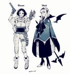 2girls arm_up bat_wings belt belt_buckle bow buckle cloak closed_mouth dress dual_wielding english_text fingerless_gloves gloves goggles goggles_around_neck goumoto greyscale gun half-closed_eyes handgun high_heels highres holding holding_gun holding_weapon holster large_bow long_hair monochrome multiple_girls night_and_sea open_mouth short_hair smile staff standing twitter_username weapon wings witch