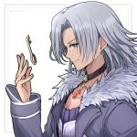 1boy alvis chest_jewel choker fur_trim highres jacket jewelry key long_sleeves male_focus mochimochi_(xseynao) pendant profile simple_background smile solo twitter_username upper_body white_background xenoblade_(series) xenoblade_1
