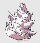 beta_pokemon closed_mouth commentary english_commentary full_body greyscale looking_at_viewer mike_luckas monochrome no_humans pokemon pokemon_(game) pokemon_gsc pokemon_gsc_beta prototype signature simple_background solo spikes turban_(slowbro's_shell) white_background